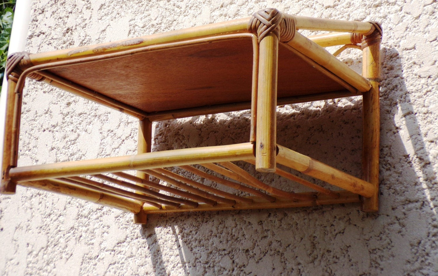 Wall Bamboo Rattan Shelf Vintage 1950 France Mid Century