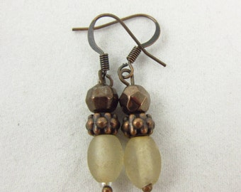 Frosted Glass and Antique Copper Earrings Handmade Dangle Earrings