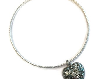 Listen to your Heart Charm Bracelet - Listen to your Heart Charm Bangle - Inspirational Jewelry  - Silver Jewelry - Stacking Bangles