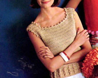 Cute Womens Retro Crocheted Shell Pattern from the 60s