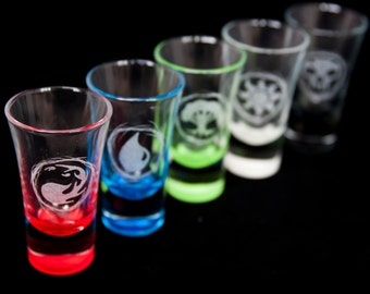 Coloured -  Magic: The Gathering themed Shot glasses. Bespoke engraving.