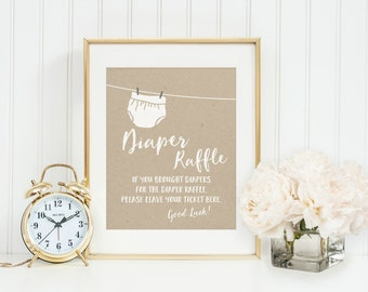 Diaper Raffle Drop Off Sign Baby Shower Printable Instant Download, Clothes line, Gender Neutral, Generic, Bring a pack of Diapers, Digital