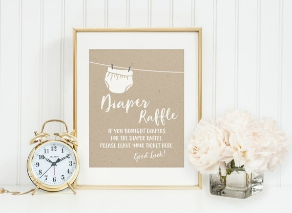 diaper raffle drop off sign baby shower printable instant