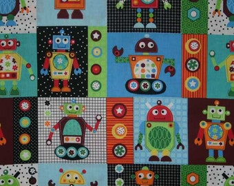 ROBOT Fabric By the Yard Fat Quarter GEARHEADS Robots Block Patch Boys Nursery Retro Kids Robotic Cotton Quilting Apparel Fabric t6/26