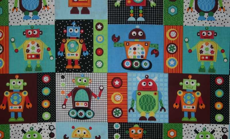 Robot fabric by the yard fat quarter gearheads robots block for Robot quilt fabric