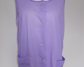 Vintage apron 80s Housewife Purple checked full apron with pockets size large -  XL