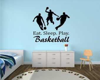 Eat. Sleep. Play. Basketball Wall Decal - basketball wall decor, basketball vinyl, basketball sports decal, basketball decor, sports decal
