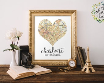 Heart Map print, printable map wall art decor, INSTANT DOWNLOAD - Charlotte, North Carolina