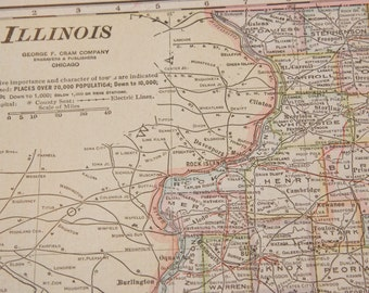 1919 Illinois Antique Map