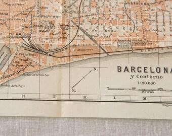 1908 Barcelona Spain Antique Map