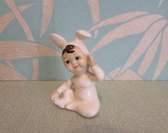 Cute 1950s ceramic pixie bunny figurine