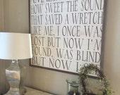 Amazing Grace framed wood sign *Christian Home decor *Christian Lyrics