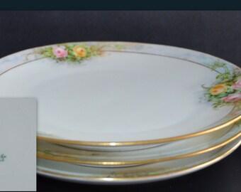 Porcelain Hand Painted Plates Sevres Thomas Bavaria Darling Pattern Set of Three