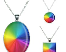 Rainbow Colour Wheel Photo Pendant on an 18 inch Silver Plated Chain, Ring or Keychain