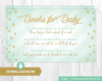 Mint & Gold Twinkle Twinkle Little Star Book Request Card • Baby Shower Book Request Card Printable Instant Download • BS-T-01