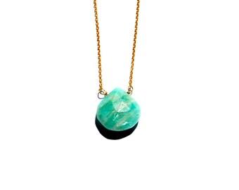 Amazonite briolette necklace, Amazonite necklace, Amazonite and 14t gold chain necklace, Briolette necklace