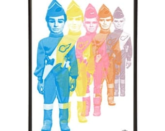 International Rescue Pop Art Print of all five Tracy Brothers from Thunderbirds, the iconic Gerry Anderson Supermarionation cult TV show