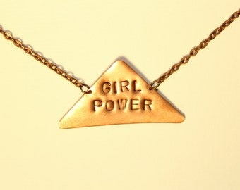 Girl Power, Hand Stamped Copper Feminist Necklace