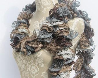 Crochet Ruffle Scarf, Sashay Scarf, Grey Brown Ruffle Scarf, Frilly Scarf, Crochet Scarf, Handmade Scarf, Fashion Scarf, Ruffle Scarf, Gift