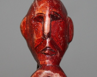 Vintage Hand Carving Painted Wood African Man Statuette