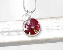 Initial jewelry Ruby red necklace Delicate jewelry Sentimental Red flower necklace Round pendant Initial pendant Red jewelry Small pendant