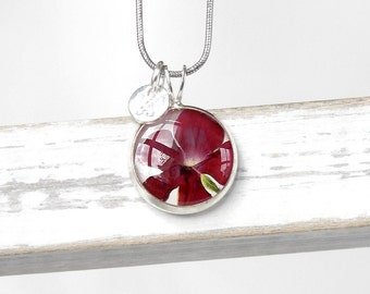 Initial jewelry present ruby Red necklace Delicate jewelry Sentimental Gift for her Flower necklace Small round necklace initial