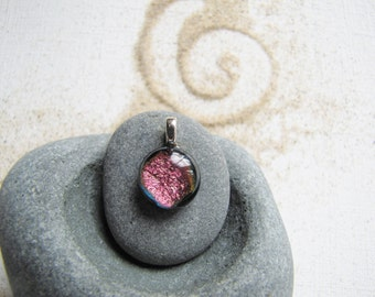 Mini Pink Fuschia and Black Glass Pendant, Dainty Hot Pink and Black Glass Charm, Glass Charm, Teeny, Tiny, Mini, Micro, Dainty Pendant