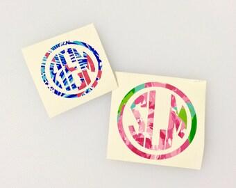 Lilly Pulitzer Inspired Circle Monogram - Car Monogram - Vinyl Monogram Decal - Monogram Sticker
