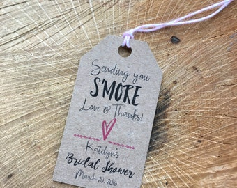 S'more tag, S'more love tag, Wedding tag, Favor tag, Gift tag, Custom tag, Sending You S'more love & thanks tag - TWINE included