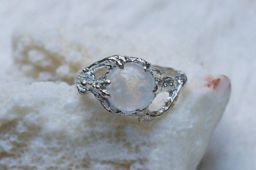 Sterling Silver Rainbow Moonstone Ring Ariel Made