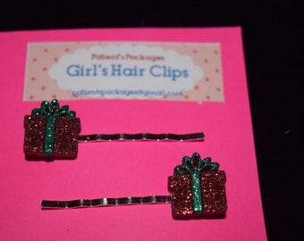 Red Present Hair Clips/Barrettes/Bobby Pins