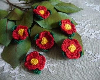 SALE 6 Small Crocheted Red Flowers with Leaves Applique Handmade for Trims Crafts Altered Art