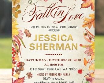 Fall in love bridal shower invitation, Fall bridal shower invitation,, falling in love bridal shower invitation, rustic bridal shower