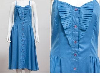 1980's Sundress • Blue Summer Dress • Vintage 80's Preppy Sundress • Indie Summer Dress