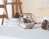 Glass Geometric Terrarium Container, Small Copper Planter, Succulent Pot, Copper Home Decor, Table Centerpiece, Stained Glass, Gardener Gift