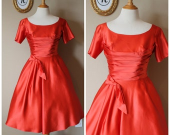 Vintage 1950's ~ 50 Satin Emma Domb Party Dress.