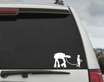 Little Boy Walking AT-AT Decal - Star Wars Car Decal - Star Wars Sticker
