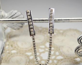 Sweater Chain Collar Clip Vintage Rhinestone Silvertone Vintage Jewelry Fashion Accessory Sweater Clip