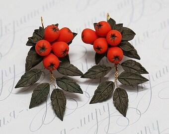 Rowan berry earrings. Red berries fall leaves autumn earrings. Eco-friendly jewelry. Handmade polymer clay earrings