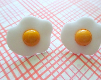 Fried Egg Earrings-Miniature fried egg jewelry-Food Earrings-Novelty Jewelry-kids gifts-food studs-clip on earrings-egg studs-waffle studs