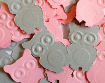 150-Pink and Grey Owl Confetti-Paper Owls-Baby Shower Decorations Girl-Owl Embellishments-Scrapbooking die cuts-Embossed owls-Table Top