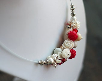 Handmade necklace. Raspberries, roses and pearls. Polymer clay.