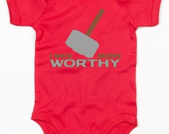 Thors Hammer I was born worthy baby grow vest cute Avengers gift