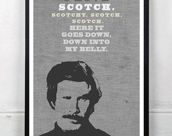 "ANCHORMAN, Ron Burgundy, Inspired Minimalist Poster Print 13 x 19"""