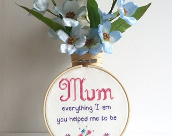 "Cross Stitch Mum Tribute Quote 5"" Hoop Art Wall Hanging"