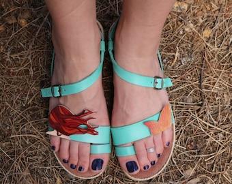 leather sandals, mermaid, comfortable sandals, summer shoes, strap sandals, adjustable sandals, aqua, rubber sole, comfortable sandals