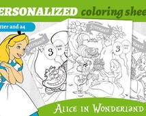 Personalized Alice in Wonderland Coloring Sheets Custom Activities A4 and Letter Sized Favors for Children Birthday Games