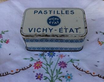 French Vintage Vichy Tin. Vintage Shabby chic charm.