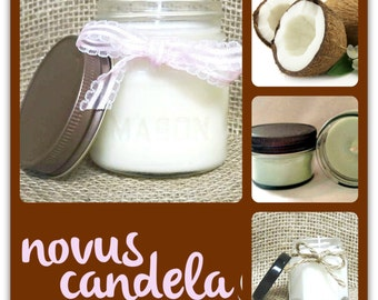 Mason Jar Candle - Soy Candle - Soy Scented Candle - Soy Coconut Candle - Housewarming Gift - Hostess gift - Christmas Gift - 2 4 8 oz
