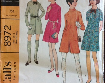 McCalls 8972 - 1960s Mod Pantdress or Dress with Band Collar - Size 3 JP or 5 JP